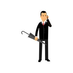 Businessman talking on phone standing with umbrella vector illustration