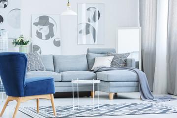 Velvet armchair in gray room
