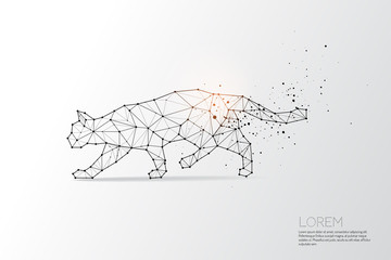 The particles, geometric art, line and dot of cat moving