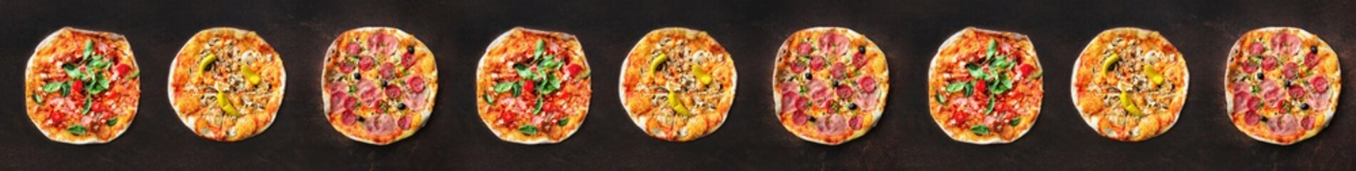 Pizza pattern. Nine pieces set on dark background. Top view, copyspace