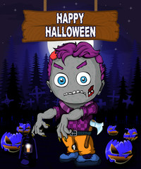Halloween Design template with zombie.