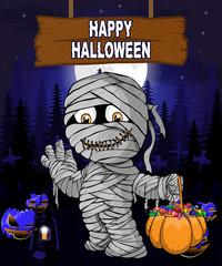 Halloween Design template with mummy.