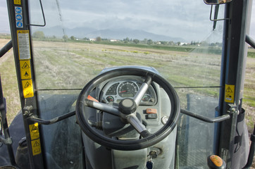 View from a tractor's cockpit