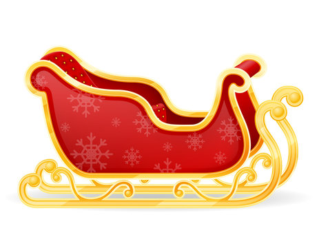 christmas santa claus sleigh stock vector illustration