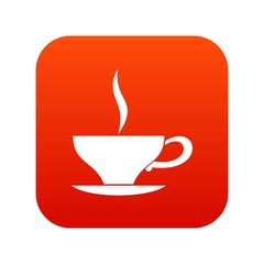 Cup of tea icon digital red