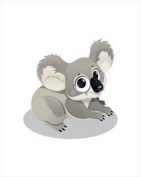 Little Koala with big eyes - vector drawing - isolate white background