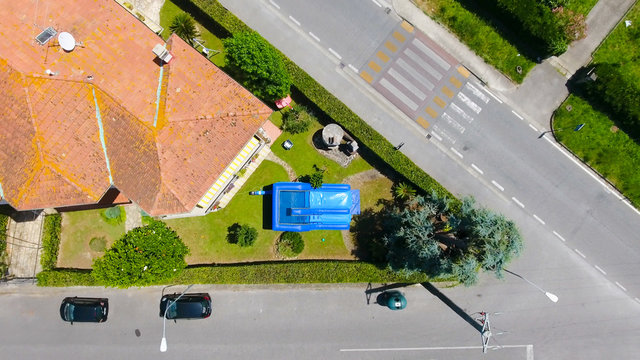 Inflatable slide in the gerden aerial view