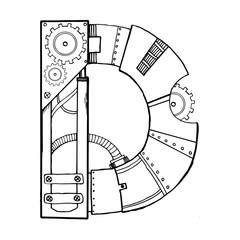 Mechanical letter D engraving vector illustration