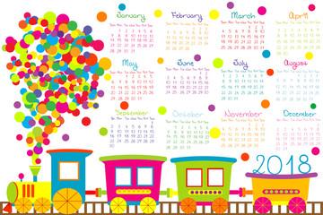 2018 calendar with cartoon train for kids
