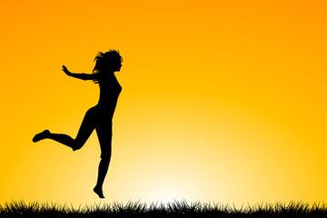 Happy woman jumping and enjoying life