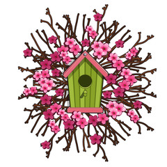 Search photos by antonlunkov green birdhouse framed by sakura cherry blossoms vector illustration in cartoon style isolated on white sciox Images