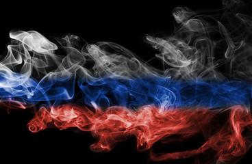 Russia flag smoke