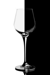 A glass for white wine, black and white
