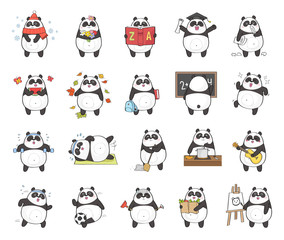Set of cute panda character with different activity, isolated on white background