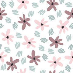 A simple floral pattern. Vector cute background.