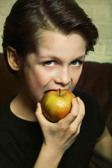Cool Young Child eating a Healthy Apple while being tough: old style edit