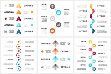 Vector circle arrows timeline infographic, cycle diagram, triangle graph, presentation chart. Business concept with 4, 5, 6, 7, 8 options, parts, steps, processes.