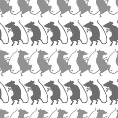 Rat silhouettes, light and dark gray, on white background. Seamless pattern.