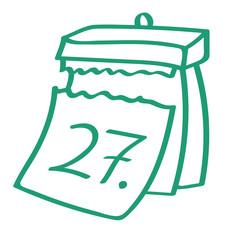 Handgezeichneter Kalender - Tag 27 in grün