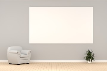 modern living room with white sofa and free copy space board, 3D rendering