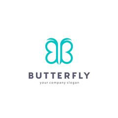 Vector log design. Butterfly sign