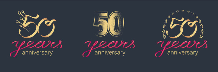 50 years anniversary vector icon, logo set