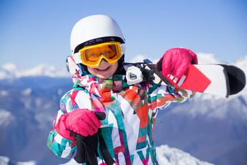 girl on alpine skiing