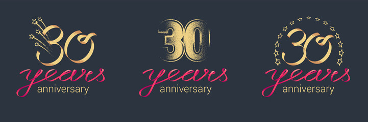 30 years anniversary vector icon, logo set