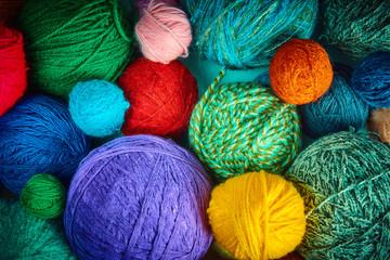 colorful wool yarn balls.wool yarn ball. Colorful threads for needlework