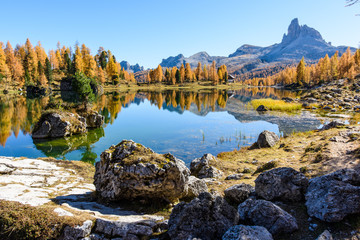 Lake Federa, Dolomites. Autumn colors and reflections