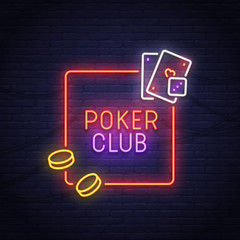 Poker neon sign. Casino. Neon sign, bright signboard, light banner.