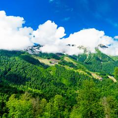Mountain peaks. Mountain green landscape