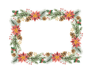 Watercolor vector Christmas frame with fir branches and flower poinsettias.