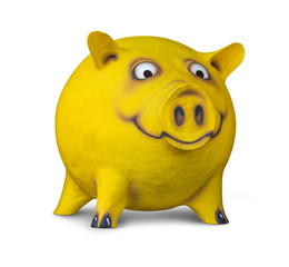 funny yellow pig