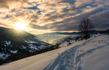 footpath through snowy rural hillside. gorgeous sunrise in mountainous winter countryside