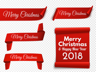 Set of red Christmas banners. Paper scrolls. Vector