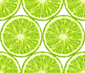 Vector seamless pattern of lime. Citrus background