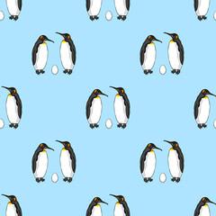 Vector seamless pattern of bird penguin couple with egg. Emperor penguin family