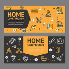 Home Repair Flyer Banner Posters Card Set. Vector