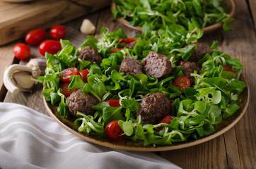 Meatballs beef with fresh salad