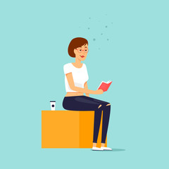 Girl is reading a book. Flat design vector illustration.