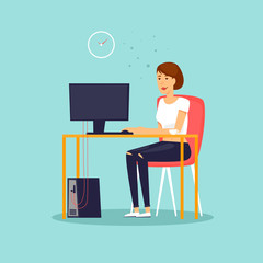 Girl sitting at the computer, office, work. Flat design vector illustration.