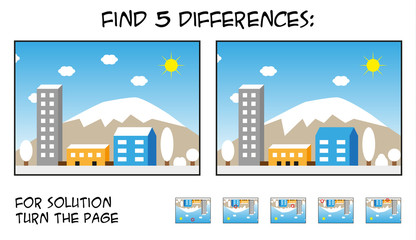 Child game - find 5 differences in pictures with city landscape theme during snow sunny day