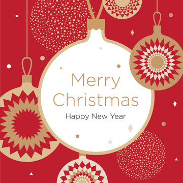 Christmas greeting card. Golden Christmas balls on a red background. New Year's design template with a window for text. Vector flat