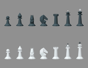 Chess pieces. Isolated on grey background. 3d Vector illustration.