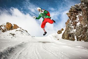 Foto op Plexiglas Wintersporten xmas time and elf on winter road