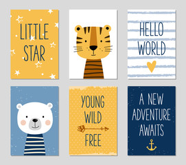 Birthday cards with cartoon tiger and bear for baby boy and kids. Can be used for baby shower, birthday, party invitation.
