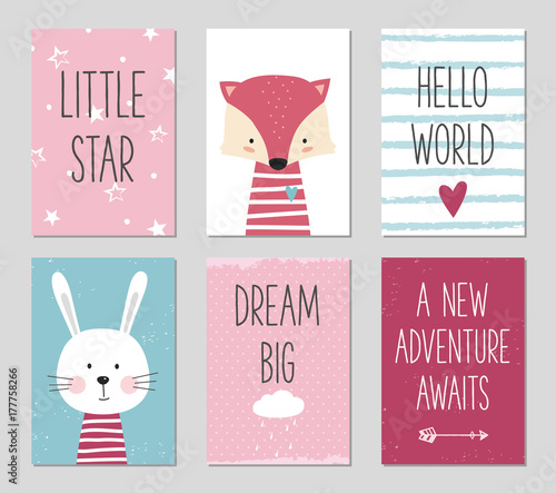 Birthday cards with cartoon fox and bunny for baby girl and kids birthday cards with cartoon fox and bunny for baby girl and kids can be used stopboris Image collections