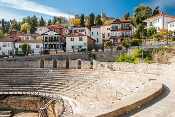 Ancient Roman Theatre against Samoil Fortress in Ohrid, Macedonia