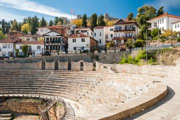 Ancient Roman Theatre against Samoil Fortress in Ohrid, Macedonia
